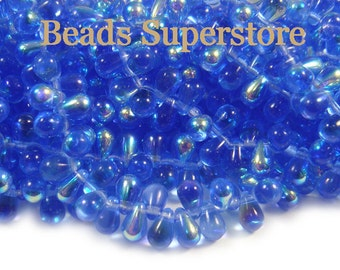 4 mm x 6 mm Sapphire AB Czech Glass Tear Drop Bead - 100 pcs