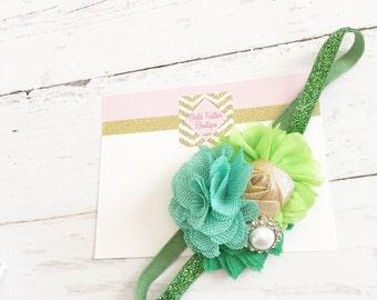 green mint gold headband // sparkle st pattys day headband // st patricks day headband