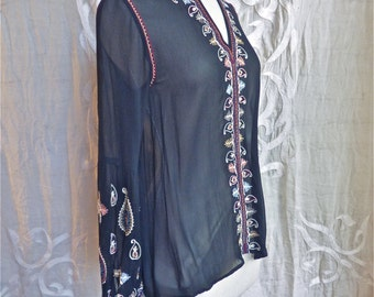 Embroidered Sheer Black Rayon Blouse