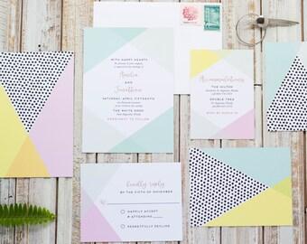 Amelia Suite -Wedding Invitation Suite, Modern Wedding Invites, Classic Invitation Set, Geometric invitations, Colorful Invitation