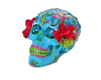 Made To Order, Sugar Skulls in Blue, Day Of The Dead, Hand Painted Skulls, Gift Ideas for collectors, Birthday Gift Ideas, Handpainted, Art