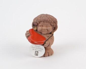 Valentines Day Jie of heart troll. Design Ewa Jarenskog. Nordic ceramic design. flashing troll.