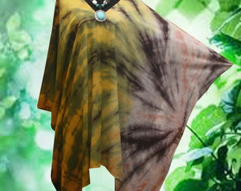 Abstract Bleach Rusty Artwork Hand Dyed V Neck Poncho Top blouse Gown