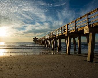 Naples, Florida pier at Sunset, beach art, beach photography, beach decor, nautical art, nautical decor, nautical print, florida art, fl