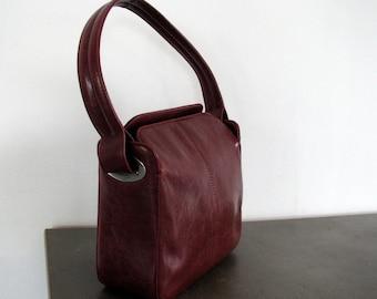 Vintage Bordo Leather top handle bag Dark red leather handbag Bordo top handle bag Leather purse Shoulder purse