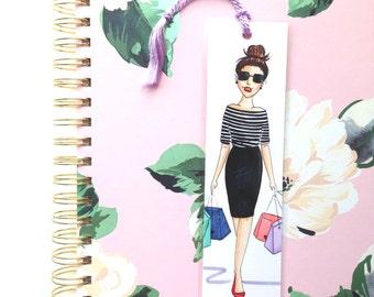 Girl shopping illustration bookmarks, Fashion sketch planner bookmarks, Chic bookmarks, Bookmark for books, Unique bookmarks, Bookmark favor