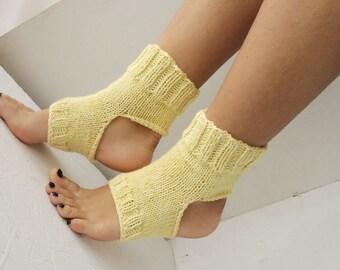 yellow women Yoga Socks Hand Knit Pilates Socks  Socks Dance Socks Slipper Socks Women  Socks