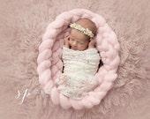 8' Wool Roving Braid, Wool Roving Newborn Photography Prop, Superfine 18.5 Merino Wool Roving, Photo Prop, Basket Filler Wool