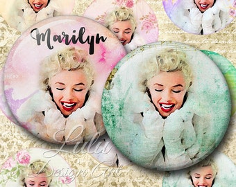 "Digital Collage Sheet ""Sweet Marilyn"" Pocket Mirror - 2,5 inch,  Circle Images, Printable Circles for round pendants, magnets, mirrors"