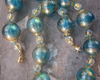 Murano Turquoise Glass and Gold Necklace with Large, Ethereal Beads
