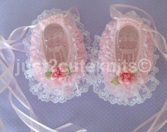 Hand knitted Baby Girls Ballet Booties Lots of Lace