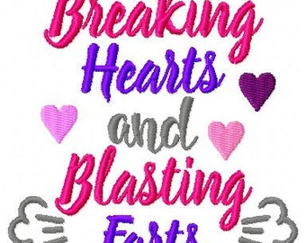 Embroidery Design: Breaking Hearts and Blasting Farts Instant Download 4x4, 5x7