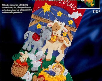 "Bucilla Away in a Manger ~ 18"" Felt Christmas Stocking Kit #83659 Jesus Nativity DIY"