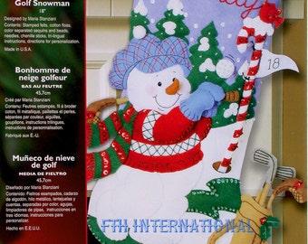 "Bucilla Golf Snowman ~ 18"" Felt Christmas Stocking Kit #85436 Frosty, Snow, Golf DIY"