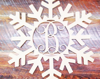 Winter Wreath Snowflake Monogram door hanger