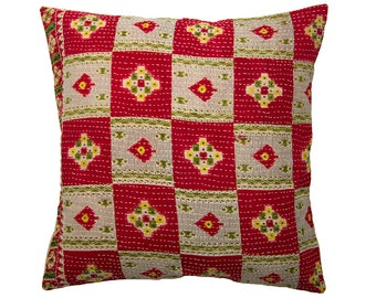 Kantha Cushion Cover - Red with green and off white - Large - 50cm x 50cm (19.7 inches x 19.7 inches)