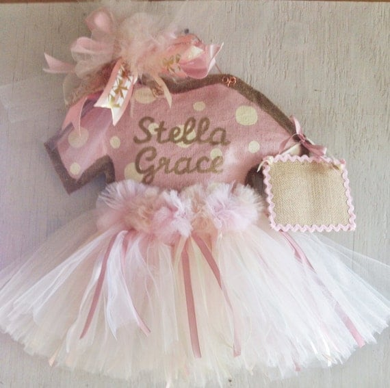 Baby girl hospital door hanger rose gold baby girl tutu door for Baby girl hospital door decoration
