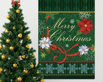 Merry Christmas Ribbons Holiday Wall Decal - #65612