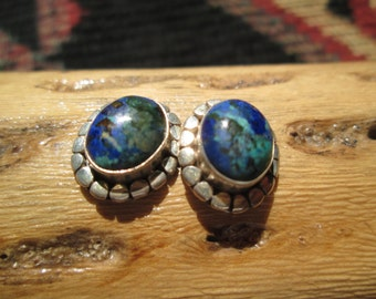 Azurite and Sterling Post Earrings