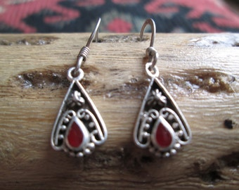Ornate Carnelian and Sterling Dangle Earrings