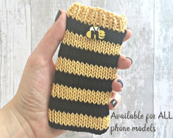 iPod Touch 6th Generation Case, iPhone Case, Knitted Phone Case, Custom Phone Case, Nature Lover Gift, Bee Keeper Gift - ALL DEVICE SIZES