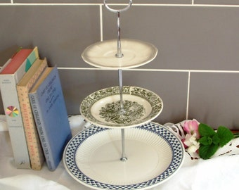 Beautiful Vintage Plates Cake Stand - 3 Tier - With Contrasting grey, blue and green plates and silver stem - F02