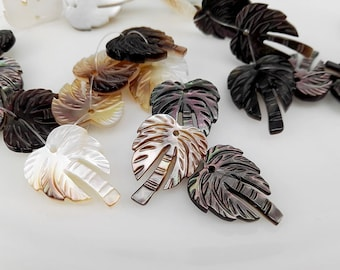 6pcs 17x14mm Black Mother Of Pearl Carved Coconut Tree Beads Tahitian Mop Coconut Tree Beads
