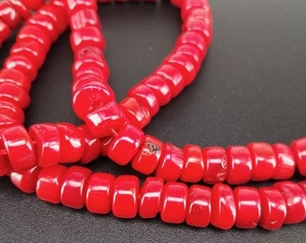 Full Strand Approx 119pcs 5x3mm Red Coral Spacer Beads Coral Heishi Beads Craft Supplies Jewelry Making