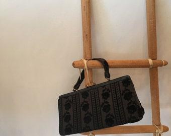Black 1960s brocade handbag