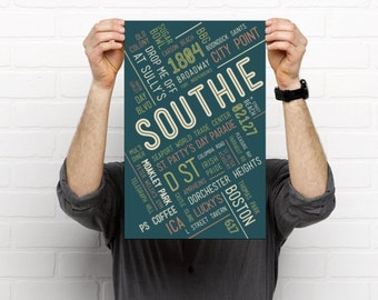 Southie  // Art Print // Home Decor // Townie Poster // Gift Idea // Massachusetts // MA