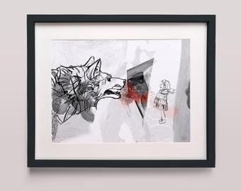 Meet the wolf - Art Print