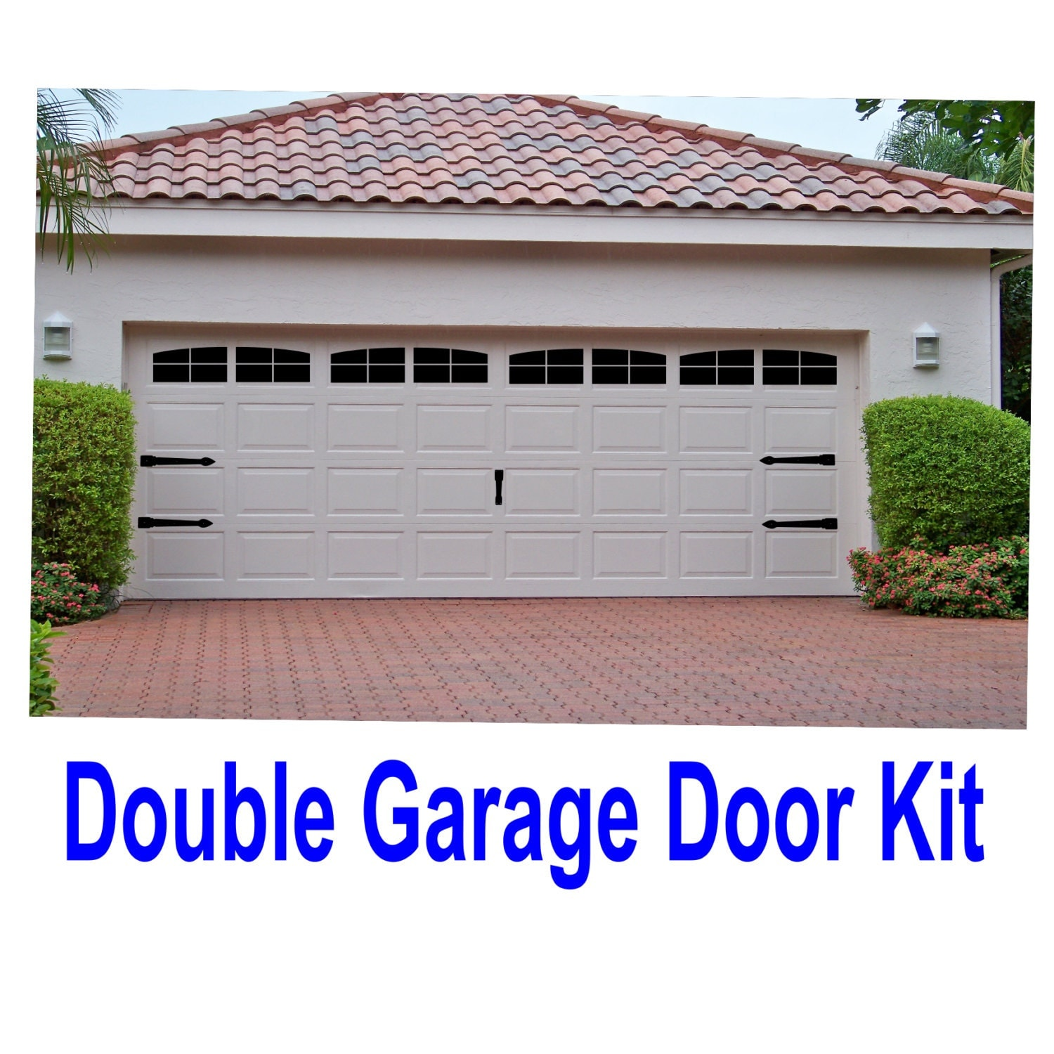 Carriage house style vinyl garage door decal kit faux windows for Double garage kit