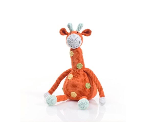Cuddly Amigurumi Giraffe : Giraffe crochet cuddly soft toy in orange and multi polka dot.