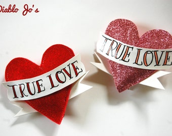 Large Tattoo heart and scroll Rockabilly hair clip, 'True Love' perfect for pin up, retro hair