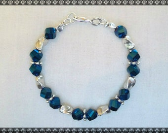 blue bracelet, dark blue bracelet, blue crystal bracelet
