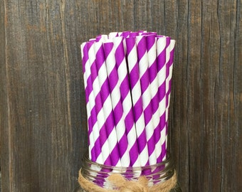 Purple Paper Straws, 100 Stripe Straws, Birthday Party, Picnic, Carnival, Wedding Supply,  Free Shipping!