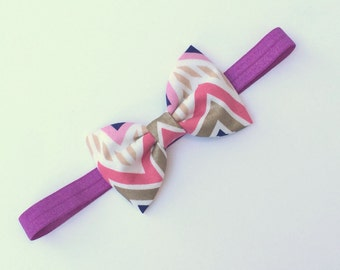 Bow Headband - Chevron Bow Headband - Purple Headband - Girl Headband - Fabric Headband - Baby Headband - Chevron Headband