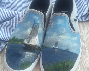Hand painted Vans, painted shoes, painted slip ons
