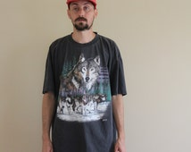 Wolf Pack 90s Distressed Tee Shirt Mens XL