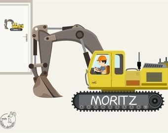 "Wall decal ""excavator sign"" Construction Site, Construction door sign customization"