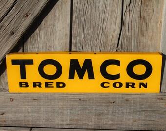 Unused Tomco Bred Corn Hybrid Seed Metal Farm Spinner Sign
