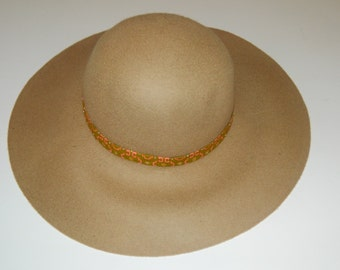 Taupe Floppy Hat with a Peach and Gold Trim