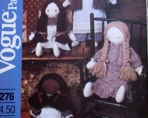 """UNCUT Vogue 18.5"""" Tall Rag Doll With Yarn hair & Clothing Sewing Pattern - Vogue Crafts 8276"""