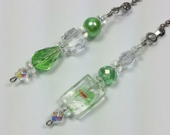 Handmade Beaded Ceiling Fan and Light Switch Pull Chain Set.  Lime Green Home Decor Item.   One of a Kind Item.