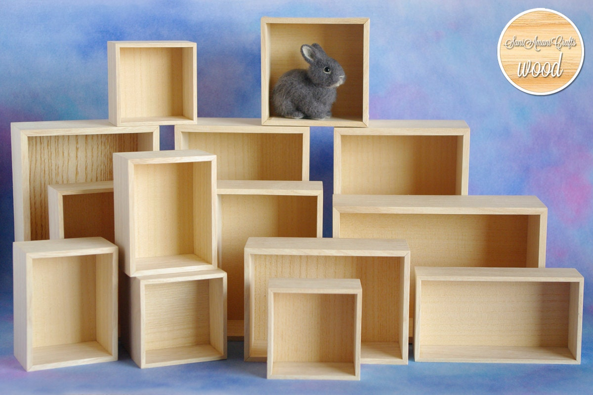 Unfinished wood craft boxes - Small Shadow Box Unfinished Wooden Shelf Miniature Wall Decor Display Hanging Shelf