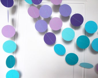 Party Paper Garland, Purple Turquoise & Aqua Blue Circle Garland, Birthday, Under the Sea, Party Decoration, 12' Ships in 2-3 Business Days