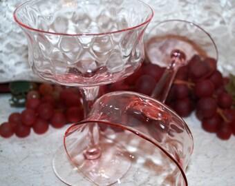 """2 Pc Set Pink Crystal 5-1/4"""" Stemmed 6 Oz Flared Rim Champagne/Sherbet Glasses"""
