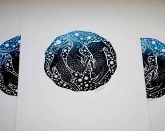 Celestial Bunnies Original Lino Print