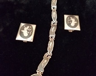 Vintage Siam Sterling Bracelet & Earring Set  #74