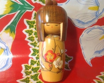 Vintage hand painted wooden Kokeshi doll- Japan, signed by artist